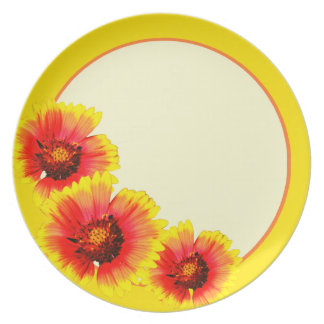 Yellow and orange flower plate