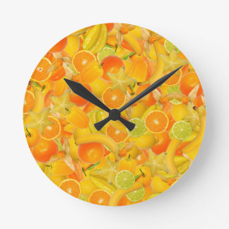 Yellow and orange fruits and vegetables wall clock