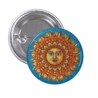Yellow and Orange Sun Round Button