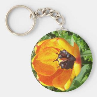 Yellow and Orange tulip keychain