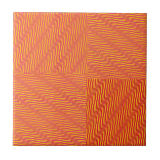 Yellow and Orange Waves Small Square Tile