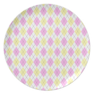 Yellow and Pink Argyle Plaid Pattern Plate