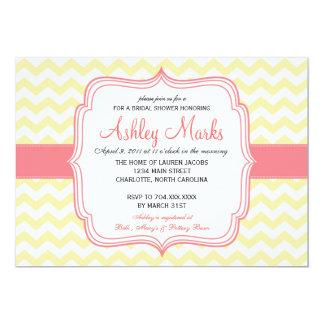 Yellow and Pink Cheveron Invitaiton 13 Cm X 18 Cm Invitation Card