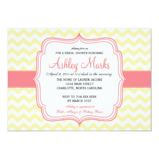 Yellow and Pink Cheveron Invitaiton Invites
