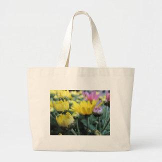 Yellow and Pink Chrysanthemum Buds Large Tote Bag
