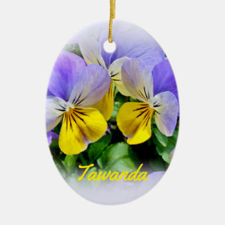 Yellow and Purple Pansies Ceramic Oval Decoration