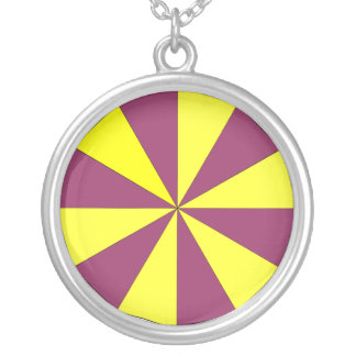 yellow and purple round pendant necklace