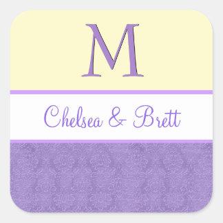 Yellow and Purple Wedding Monogram V11 Square Sticker