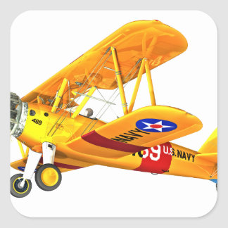Yellow and Red Military Training Biplane Flying Square Sticker