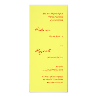 Yellow and Red Paisley Indian Wedding 10 Cm X 24 Cm Invitation Card