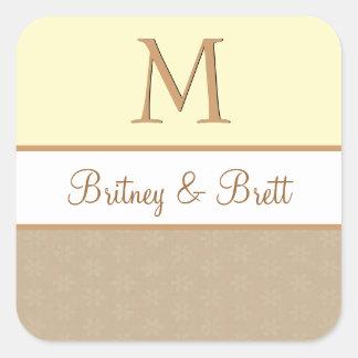 Yellow and Tan Wedding Monogram V09 Sticker