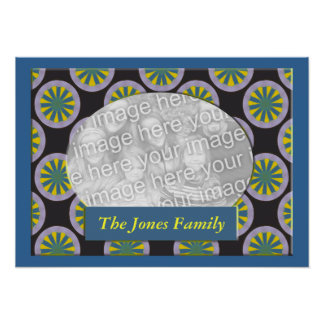 Yellow and Teal circles photo frame Poster