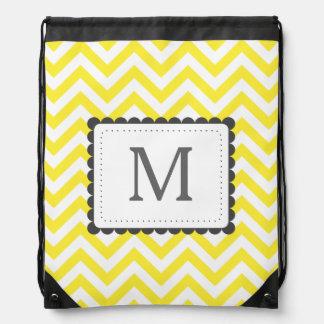 Yellow And White Chevron Custom Monogram Drawstring Bag