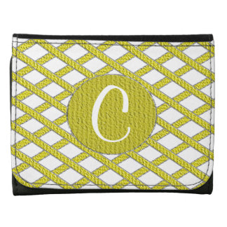 Yellow and white crisscross monogram wallet