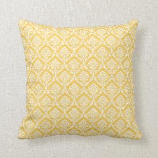 Yellow and White Damask Pattern Cushion