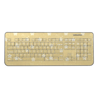Yellow and White Floral Keyboard