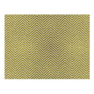 Yellow and White Glitter Zig Zag Postcard