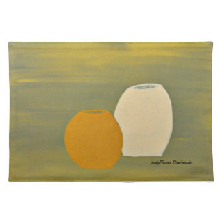 Yellow and White Jugs on Green Background Placemat