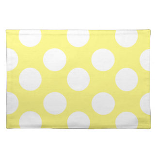Yellow and White Large Polka Dot Placemat