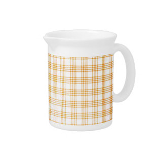 Yellow and White Plaid Pitcher