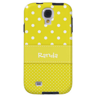 Yellow and White Polka Dot Galaxy S4 Case