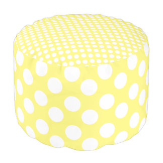 Yellow and White Polka Dot Print Pouf