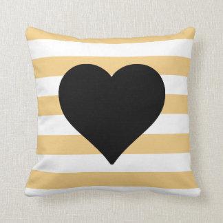 Yellow and White Striped Black Heart Throw Pillow Throw Cushion