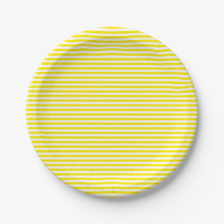 Yellow And White Stripes Wedding / Party 7 Inch Paper Plate