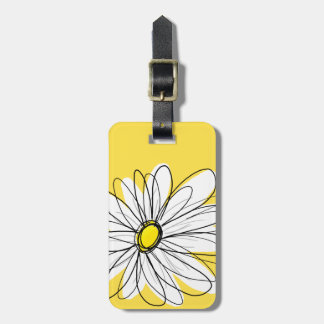 Yellow and White Whimsical Daisy with Custom Text Luggage Tag