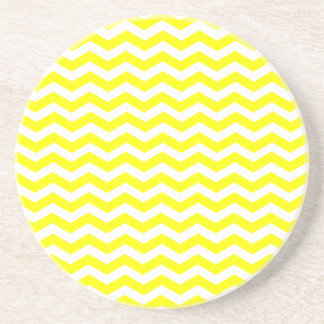 Yellow And White Zigzag Chevron Pattern Sandstone Coaster