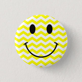 Yellow and White Zigzag Smiley Face Button