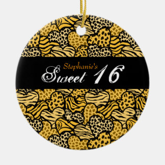 Yellow animal pattern hearts Sweet 16 Ornament