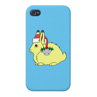 Yellow Arctic Hare with Santa Hat & Silver Bell Cover For iPhone 4