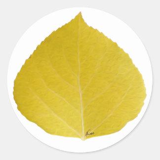 Yellow Aspen Leaf #5 Classic Round Sticker