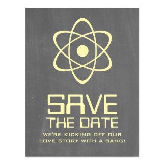Yellow Atomic Chalkboard Save the Date Postcard