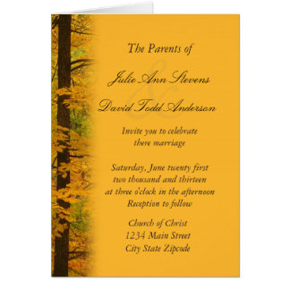Yellow Autumn Forest Wedding Invitation