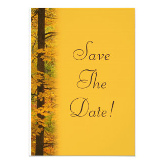 Yellow Autumn Forest Wedding Save The Date Card