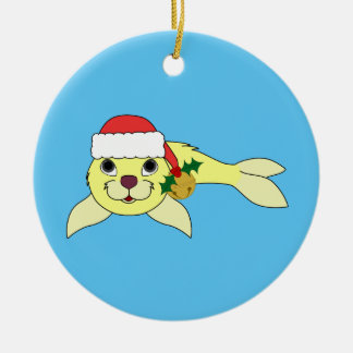 Yellow Baby Seal with Santa Hat & Gold Bell Christmas Ornament