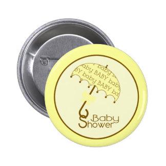 Yellow Baby Shower Button - Umbrella