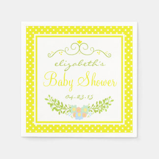 Yellow Baby Shower Floral Wreath Disposable Napkin