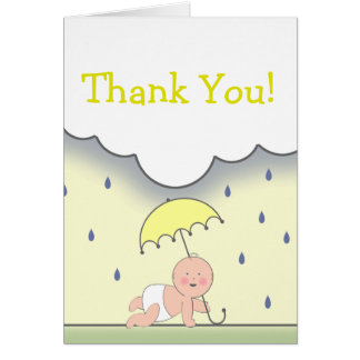 Yellow Baby Shower Thank You Card