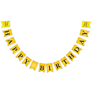 Yellow Balloons Stars Happy Birthday Message Bunting