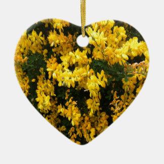 Yellow  Bell flowers -- Native Australian Ceramic Heart Decoration
