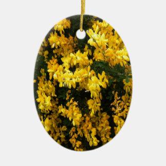 Yellow  Bell flowers -- Native Australian Ceramic Oval Decoration