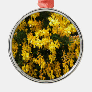 Yellow  Bell flowers -- Native Australian Silver-Colored Round Decoration
