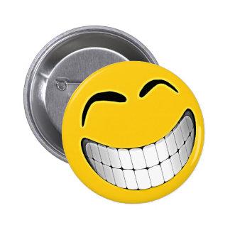 Yellow Big Grin Smiley Face Pinback Button