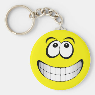 Yellow Big Grin Smiley Face Basic Round Button Key Ring