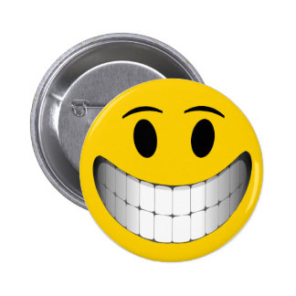 Yellow Big Smile Smiley Face 6 Cm Round Badge