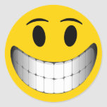 Yellow Big Smile Smiley Face Classic Round Sticker