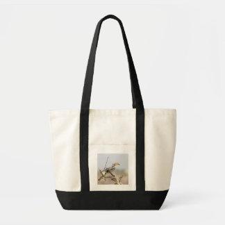 Yellow billed hornbill tote bag